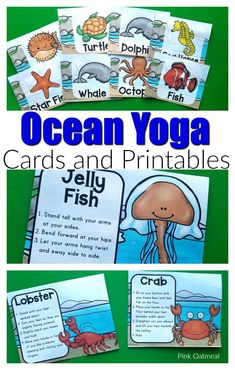 Awesome ocean themed yoga cards and printables will have kids pretending to be whales turtles fish and more. These fun poses are perfect for preschool kindergarten and up. Perfect to add movement into your ocean lesson plans. Ocean Lesson Plans, Lesson Plans For Toddlers, Kindergarten Lesson Plans, Preschool Lessons, Preschool Activities, Infant Lesson Plans, Ocean Games, Water Games, Preschool Yoga