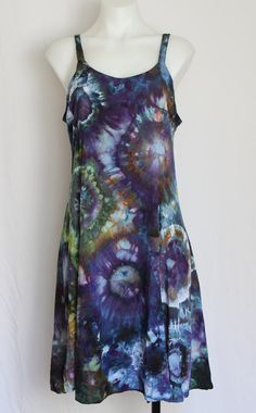 Tie Dye Rayon Sun dress Summer dress Ice Dyed Clothing - Blue Lagoon - Size Medium by ASPOONFULOFCOLORS on Etsy