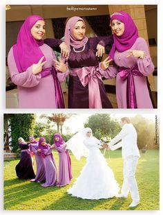 { Hijabi Bride } Basma & Dina Amr & Rue Mohammed & Dina Radwa Rania All the photos are tak. Wedding Abaya, Wedding Hijab Styles, Hijab Wedding Dresses, Modest Bridesmaid Dresses, Modest Wedding, Wedding Bride, Wedding Ceremony, Bridesmaids, Bridal Hijab