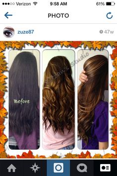 Before and after balayage highlights. Chocolate brown with carmel blonde highlights