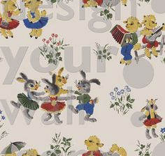 Oh brother... after finding these adorable vintage wallpapers for kids, I feel a new board coming on...