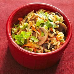 Brown Rice Pilaf....Making pilaf means cooking rice in broth -- an easy way to impart flavor to the grain. Our veggie-studded pilaf recipe hints at Mediterranean flavors with fresh sweet marjoram cooked with the rice.