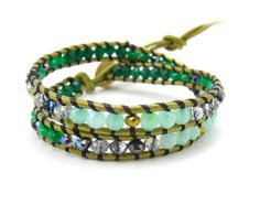Green and Blue Jade And Crystal Beaded Leather by AlexisLjewelry, $85.00