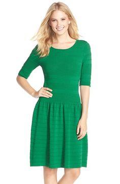 Eliza J Textured Sweater Fit & Flare Dress (Regular & Petite)