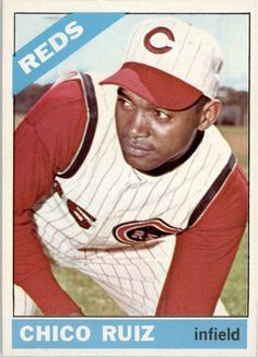 The 1966 cards had good color.  I love the Reds cards since they were made on a cloudy day that seem to make the red stand out even more.  Chico Ruiz - stole home with two strikes on Frank Robinson, pinch hit for Johnny Bench  and  pulled a gun on Alex Johnson.  Died in an automobile accident.  Interesting career for such a marginal player.