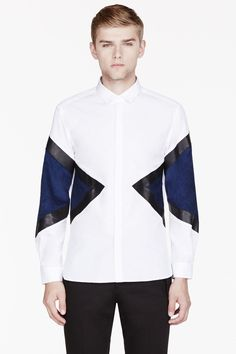 Neil Barrett White Leather-trimmed Colorblocked Shirt for men Gossip Girl, Love Fashion, Mens Fashion, Fashion Design, Patched Jeans, Pant Shirt, Fashion Project, Knitting Designs, Men Looks