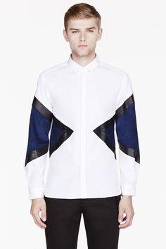 NEIL BARRETT White eather-trimmed colorblocked shirt