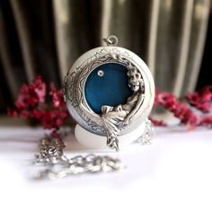 Blue Locket Necklace,Silver Locket,Gift For Her,Personalized Necklace,Secret Message,Silver Crystal