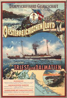 German tourist poster for Dalmatian coast cruises