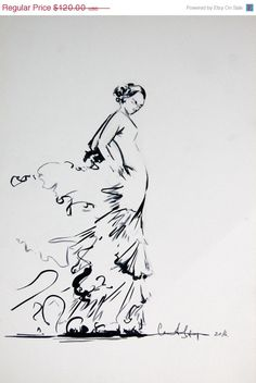 Holiday Sale Original Drawing - Black and White Ink Brush Pen Drawing - Flamenco Dancer - Modern Wall Art - Minimalist
