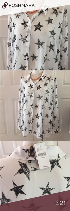Super Star print blouse New with Tag Lane Bryant sheer blouse size 22/24. 100% polyester. Split lower back. Off white with black star print. Darts at bust. Lane Bryant Tops Blouses