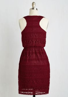 Coding Cutie Dress. When you want your personal style to reflect the excellence of your sought-after web design, you reach for this burgundy A-line and boast both of your brilliances. #red #modcloth