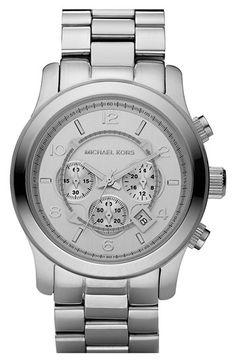 Michael Kors 'Silvertone Oversize Iconic' Chronograph Watch