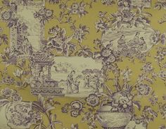 Summer Hill Fabric Chan Toile Plum Bamboo / Purple & Gold Toile