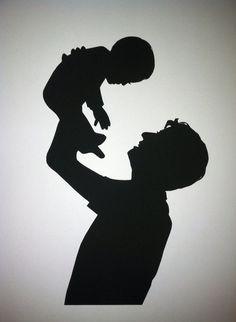 Padre y niño mano cortan silueta personalizado por PaperPortraits