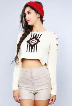White Tribal Print Crop Top Sweater @ Papaya $25