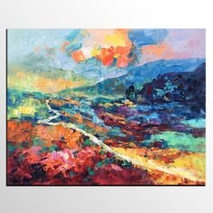 Abstract Painting Canvas Art Large Abstract Art Mountain