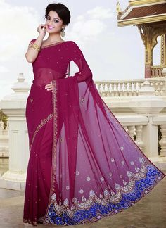 Pinkish Magenta Georgette Saree