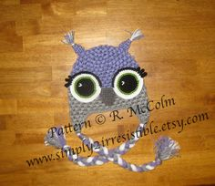 Alice Owl Hat Pattern (Crochet Pattern #14) Available in both US and UK terms Newborn to Adult Sizes Included by Simply2Irresistible, $2.99