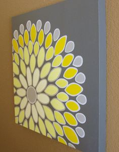 Yellow and Grey Abstract Flower
