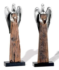 Take a look at this Reclaimed Wood Angel Figurine - Set of  Two by Foreside on #zulily today!