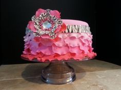 Girly Pink and Black with Bling Birthday — Birthday Cake Photos