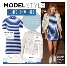"""""""Model Style- Gigi Hadid"""" by kusja ❤ liked on Polyvore featuring adidas Originals, Stealherstyle, celebstyle, gigihadid and offdutystyle"""