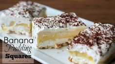 Banana Pudding Squares via @Liz Mays (A Nut in a Nutshell)/ // #banana #pudding #recipe