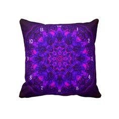 Purple Reign Clock Mandala Pillow