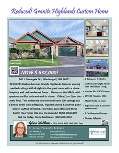 Price Improved! Real Estate for Sale: Now $632,000-5 Bd/3 Ba Custom Two Level Granite Highlands Daylight Ranch with Main Floor Living on a Landscaped Lot at: 240 Stonegate Dr, Washougal, Clark County, WA! Area 33. RMLS 20526299. Listing Broker: Gloria Matthews (360) 600-3042, Principal Property Brokers, Vancouver, WA! #RealEstate #Exceptional #PriceImprovedRealEstate #WashougalRealEstate #GraniteHighlandsRealEstate #DayRanchRealEstate #FiveBedroom #Landscaped #TwoCarOversizedGarage…