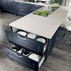 Italian Kitchen Cabinet Organization and Close-up Images