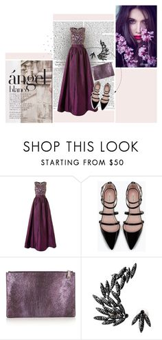 """Untitled #95"" by adrianaserafim ❤ liked on Polyvore featuring Adrianna Papell, Zara, Jil Sander, Luxury Fashion, chic, dress, gown, violet and Gala"
