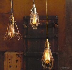 Roost Workshop Cage Lamps | Roost Hanging Lamps modishstore.com $160 – Modish Store