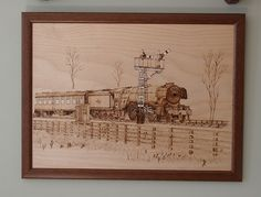 Pyrograph of Flying Scotsman. Drawn from a photograph I took of her running on the North Yorkshire Moors railway.
