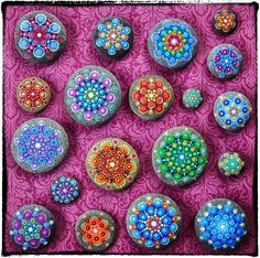 Elspeth McLean collection #mandala #stone #paintedrock #rainbow #elspethmclean