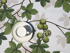 Tablecloth white green chesnuts on a tree Fall Nature Modern Scandinavian Design , runner , napkins , pillow , curtains available,great GIFT by Dreamzzzzz on Etsy https://www.etsy.com/listing/191898392/tablecloth-white-green-chesnuts-on-a
