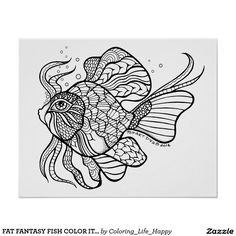 FAT FANTASY FISH COLOR IT YOURSELF POSTER H, 16X20
