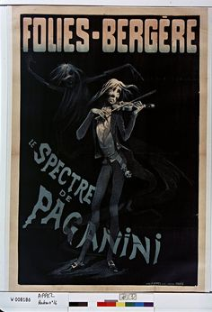19th cent. french music-hall poster - sinister figure from Paganini F. Appel 1880