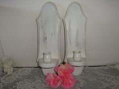 Cottage shabby chippy Wall sconce Wood french white candle stick candle holder home decor Set Pair