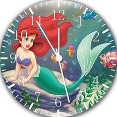 Little Mermaid Ariel Wall Clock 10  If you have a toddler or a little girl , I bet they would love to live in a Little Mermaid bedroom or bathroom.   In fact the Little Mermaid home décor theme has been especially trendy for girls bedroom decoration ideas.  You can use little mermaid bedding and little mermaid bathroom décor to make a true Disney Little Mermaid princess happy!  You can also accent your little mermaid bathroom with little mermaid beach towels and little mermaid wall clocks.