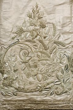 Wedding dress (detail) of Queen Lovisa of Sweden and Norway (née Princess Louise of the Netherlands), who married King Karl XV on June 19, 1850, in Stockholm Cathedral.  Livrustkammaren (The Royal Armory) / Matti Östling. See: https://commons.wikimedia.org/wiki/File:Kronprinsessan_Lovisas_brudkl%C3%A4nning._Detalj_av_kl%C3%A4nning_-_Livrustkammaren_-_86109.tif. CLICK FOR VERY LARGE, HI-RES IMAGE.
