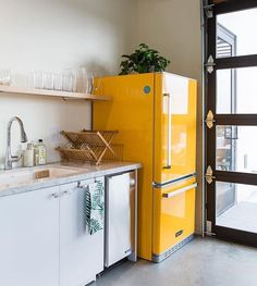 """Buttercream Yellow Retro Fridge """"THIS is what fridge dreams are made of! We held our breath when we presented a colorful retro fridge to our client and were beyond ecstatic when she said YES! Küchen Design, House Design, Retro Fridge, Smeg Fridge, Decoration Design, House Rooms, Cheap Home Decor, Kitchen Interior, Interior Modern"""