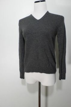 Banana Republic Dark Gray Super Fine Merino Wool Sweater Woman's Size S #BananaRepublic #VNeck