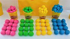 Learn Colors Play Doh Balls Animal Disney Princess Ice Cream Ducks Surpr...