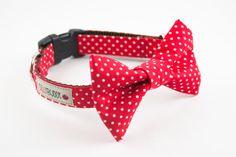 Red Polka Dot Bow Tie Dog Collar by SillyBuddy on Etsy, $42.00