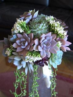 Succulent Wedding Bouquet, Succulent Bridesmaid Bouquet. $155.00, via Etsy.