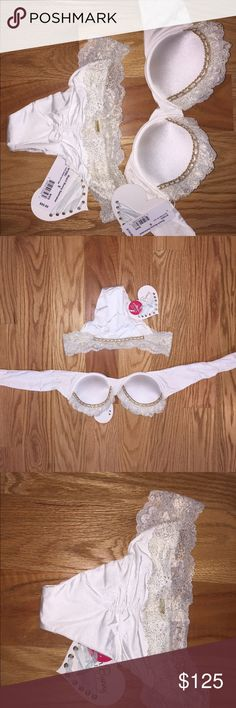 BRIDAL Beach Bunny bikini Gorgeous white bridal bikini, Size small, never worn, tags still on it! Scrunchy booty bottoms, top can be bandeau but also comes with halter neck attachment. Probably ideal for size 2 or 4 US. Beach Bunny Swim Bikinis