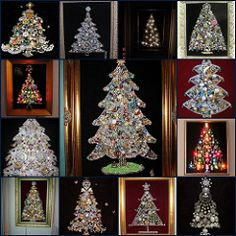 I love Thursday - Christmas Trees made from Vintage rhinestone and costume jewelry ! Look at large size to see details! I have a pile of jewlery and am planning my very own vintage jewelry Christmas tree. I like the one in the very middle.I have a pile How To Make Christmas Tree, 3d Christmas, Christmas Jewelry, Christmas Projects, All Things Christmas, Vintage Christmas, Christmas Decorations, Christmas Costumes, Costume Jewelry Crafts