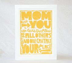 Kitchen Art for Mom Gift Card Set Mom Quote by rawartletterpress, $9.00