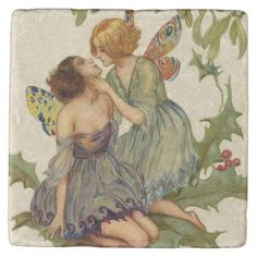 Two Butterfly Fairies Kissing on Holly Branch Artist-Signed Postcard from frenchkissed on Ruby Lane Lesbian Art, Butterfly Fairy, Stone Coasters, Oui Oui, Art Inspo, Fantasy Art, Fairy Tales, Illustration Art, Wallpaper